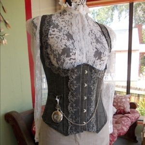 Hand Crafted Other - Dark Gray Denim and Lace Underbust Corset